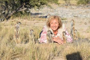 Carmel with the Meerkats at Makgadakie-Plains, Botswana