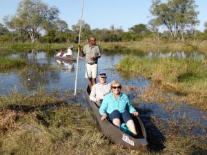 John & Carmel on the Mokura at Sango Lodge, Okavango Delta