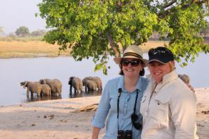 Viv and Jess enjoying the elephants