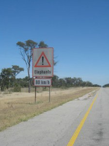 Is this a speed limit for elephants or cars? Caprivi Strip